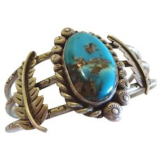 Vintage Navajo Sterling Silver & Turquoise Cuff Bracelet Hand Stamped Ingot Wire