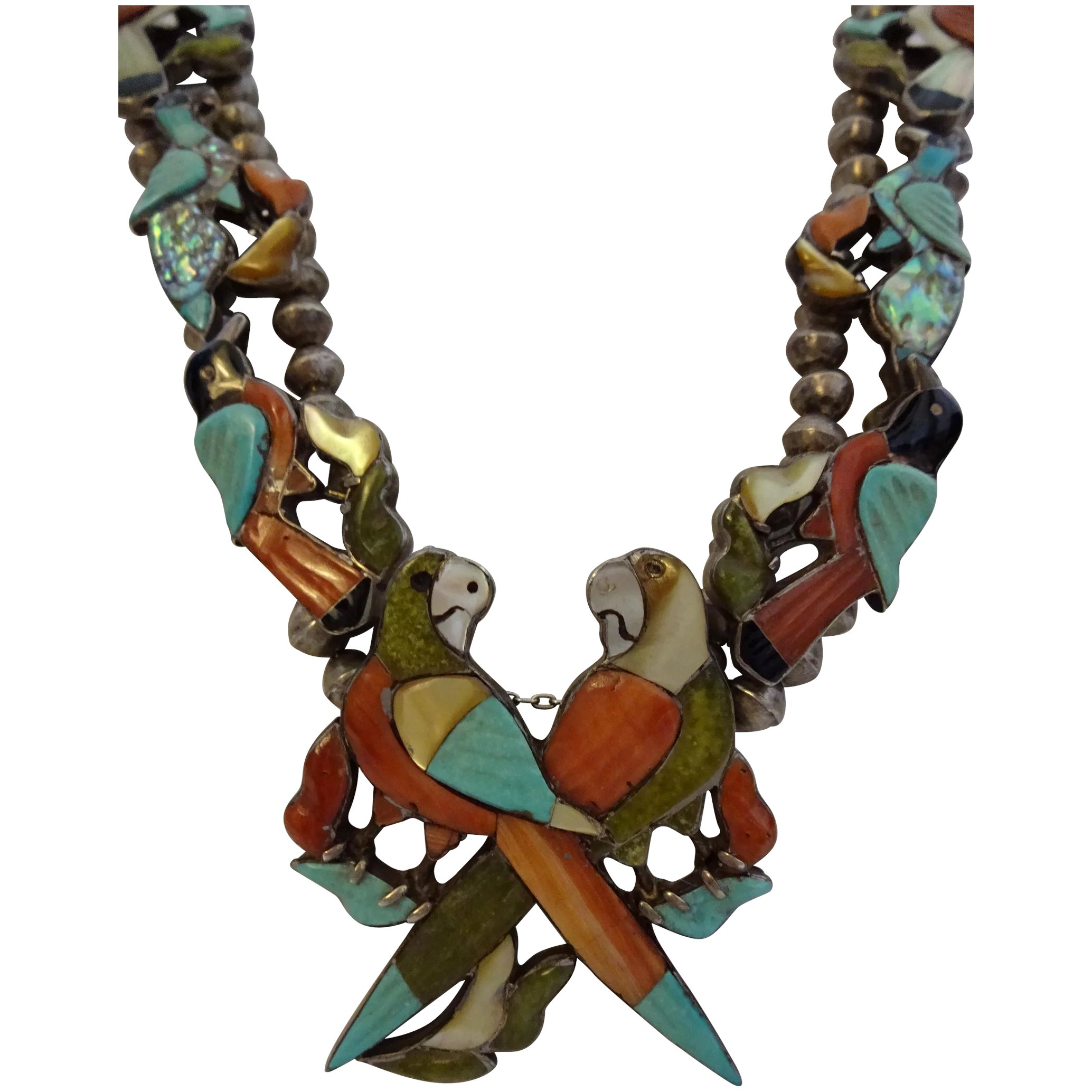sterling strand signed pendant zuni necklace three pin turquoise on natural of and stabilized silver