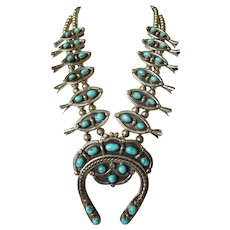 Signed Vintage NAVAJO Sterling Silver & Blue TURQUOISE Squash Blossom NECKLACE, 265.2 grams
