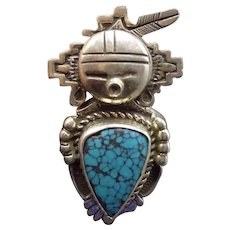 Signed Bennie Ration Vintage NAVAJO Sterling Silver & TURQUOISE RING, size 8.75