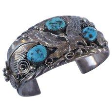Signed Vintage Navajo Sterling Silver & Turquoise Cuff BRACELET Applied Eagle