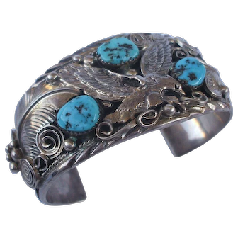Signed Vintage Navajo Sterling Silver & Turquoise Cuff BRACELET Applied Eagle