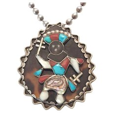 Old Pawn CARL LUTHY Turquoise Shell Coral Inlay Dancing Kachina Pendant + Chain