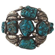 Signed Vintage NAVAJO Mary Morgan Sterling Silver & Morenci TURQUOISE Cuff BRACELET