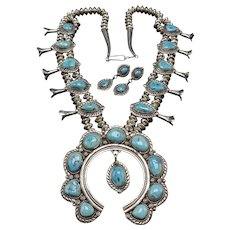 Vintage NAVAJO Sterling Silver Turquoise SQUASH BLOSSOM Necklace & Earrings SET