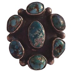 Old Pawn Navajo Sterling Silver & TURQUOISE Cluster Ring, size 6 1/2