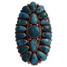 Huge Signed Vintage Navajo Sterling Silver & TURQUOISE Cluster Ring, size 8.75