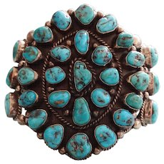 Rare Signed Navajo JIMMIE LONG Sterling Silver & TURQUOISE Cluster BRACELET 142g