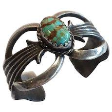 "Vintage Navajo Sand Cast Sterling Silver & Turquoise Cuff BRACELET, 6.5"" Wrist"