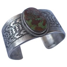 Signed Navajo Pilot Mt Turquoise Sterling Silver Cuff Bracelet Kevin Yazzie