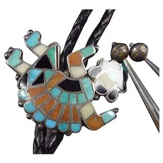 Vintage 1940s Zuni Sterling Silver RAINBOW MAN Inlay BOLO TIE, Turquoise Inlay