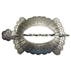 Gorgeous Vintage Navajo Hand Stamped Sterling Silver BARRETTE Hair Stick