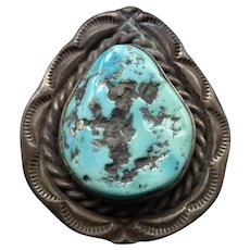 Heavy Old Vintage Navajo Hand Stamped Sterling Silver TURQUOISE RING size 11.5