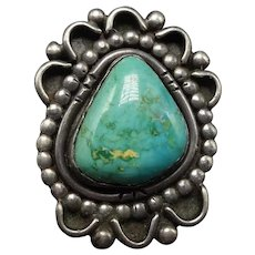Heavy Signed 17.5g Vintage Pawn NAVAJO Sterling Silver TURQUOISE Ring, size 8.5