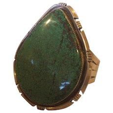 Huge Signed Vintage NAVAJO Sterling Silver & #8 Turquoise Cuff BRACELET, 119.7g