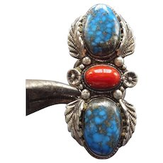 Vintage ZUNI Sterling Silver CORAL & Indian Mountain Turquoise RING, size 8.25