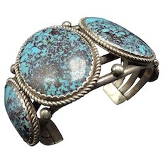 Signed Vintage NAVAJO Sterling Silver & RED MOUNTAIN Turquoise Cuff Bracelet 96g
