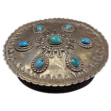 RARE 1940s Vintage ZUNI VACIT Hand Stamped Sterling Silver TURQUOISE Trinket Box - Red Tag Sale Item