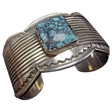 Signed Vintage NAVAJO Heavy Sterling Silver & Spiderweb TURQUOISE Cuff BRACELET