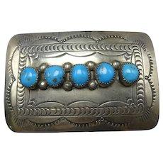 Vintage NAVAJO Hand-Stamped Sterling Silver MORENCI TURQUOISE Belt Buckle