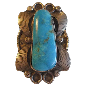 Huge Vintage NAVAJO Hand Tooled Sterling Silver & Turquoise RING, size 9.75