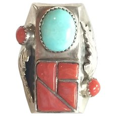 Huge & Heavy 29.5g Vintage Navajo Sterling Silver Coral TURQUOISE Ring, sz 10.75