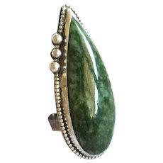 Long & Elegant Vintage Navajo Sterling Silver & Green Variscite RING, size 6.25