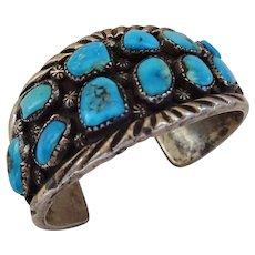 Vintage Navajo Sterling Silver & Deep Blue Turquoise Cluster Cuff BRACELET