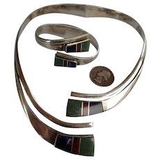 Signed Vintage TAXCO Mexico 950 Silver NECKLACE & Bracelet Set, Modernist Inlay