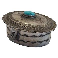 Signed HERBERT CAYATINETO Vintage Navajo Sterling Silver Jewelry Trinket Box