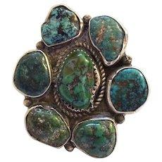 Huge Vintage Navajo Sterling Silver & Natural TURQUOISE Cluster RING, size 7.5