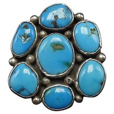 Vintage Navajo Heavy Gauge Sterling Silver Blue TURQUOISE Cluster RING size 8.25