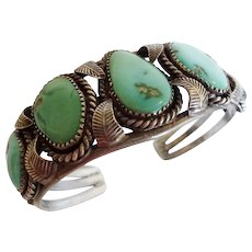 Delightful Vintage Navajo Sterling Silver & Light Green TURQUOISE Cuff Bracelet