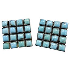 0b26dccc1 Signed Vintage FEDERICO JIMENEZ Sterling Silver Turquoise Cluster Earrings  Clip