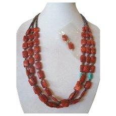 Kewa Spiny Oyster Shell Necklace & Earrings, Santo Domingo CARMELLA TENORIO