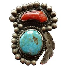 STATEMENT Old Pawn Navajo Sterling Silver Branch CORAL Turquoise RING size 9.75
