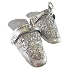 Antique Silver Stirrups Georgian Silver Repousse 19th Century Spanish Colonial Slipper Stirrups c.1820 Sterling Silver Handmade Stirrups