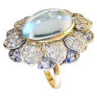 Art Deco Aquamarine Cabochon Diamond Sapphire Ring Large Ring 1920s 1930s 1940s Handmade Engagement Ring wedding Ring Vintage Dress Cocktail Dome Bombe Floral Flower Unique One of a Kind Color Engagement Natural Gems Ceylon Sapphire Santa Maria Aqua