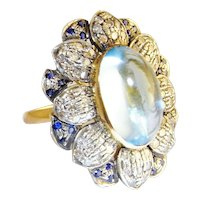 HUGE Art Deco Aquamarine Cabochon Diamond Sapphire Ring Large Ring 1920s 1930s 1940s Handmade Engagement Ring wedding Ring Vintage Dress Cocktail Dome Bombe Floral Flower Unique One of a Kind Color Engagement Natural Gems Daisy Sapphire Santa Maria