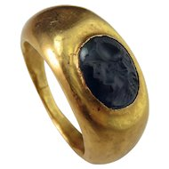 Ancient Roman Sapphire Intaglio 22K Gold Signet Ring circa 2nd C AD Antique Intaglio Gold Signet Ring Antique Signet Gold Ring Ancient Greek Roman Cameo Ring Engraved Gem Pre Georgian Jewelry  Gold Ring