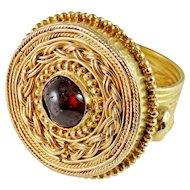 Important Medieval Saxon Gold Ring circa 7th Century AD Medieval Garnet Gold Saxon Chieftain Ring Medieval Jewelry Saxon Warrior Chieftain Gold Ring Antique Men's Gold Ring