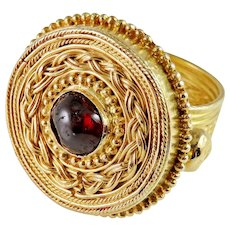 Important Medieval Saxon Gold Ring circa 7th Century AD Medieval Garnet Gold Saxon Chieftain Ring Medieval Jewelry Saxon Warrior Chieftain Gold Ring Antique Men's Gold Ring