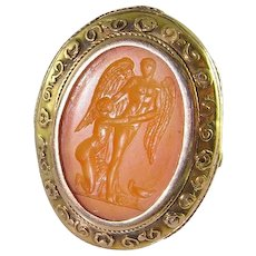Psyche and Cupid Roman Intaglio in Original Hand Made Georgian 18K Yellow Gold Hand Made Setting Ring circa 1800