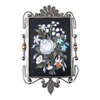 Very fine Antique Victorian Circa 1850 Pietra Dura 14K Gold Sterling Silver Hand Made Pendant Brooch Pin Locket