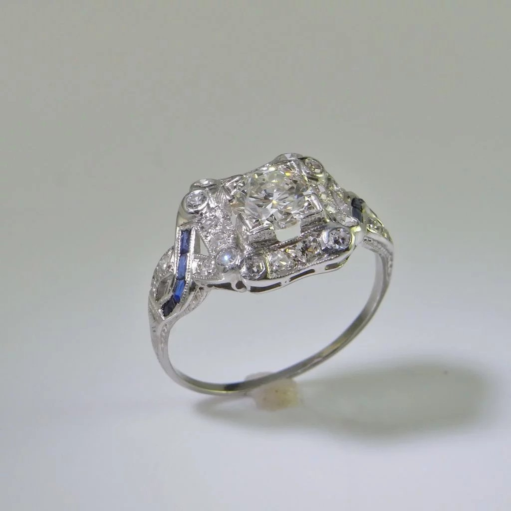 antique diamond product ring in art cut platinum european rings old deco engagement