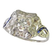 Art Deco Engagement Ring Old European Cut Diamond Sapphire Platinum Engagement Ring 1920s 1930s 1940s Old Euro Old Mine Old Cut  Wedding Band Unique Dress Ring Anniversary Ring