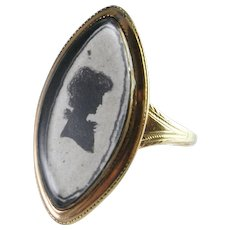 Georgian Ring Silhouette Miniature Portrait Ring Circa 1800 Yellow Gold 9K Hand Made 18th Century 1800s Ring Marie Antoinette Antique Navette Ring Dress Ring