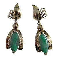 Jade Gold Earrings Art Deco Earrings Jade Cabochon 14K Handmade Jadeite Art Deco Downton Abbey great Gatsby High End Luxury Drop Dangle Dainty Pretty Floral Flower Leaf Solid Gold Translucent Natural Jade Mint