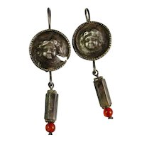 Ancient Silver Earrings Pre Georgian Silver Earrings One of a Kind Earrings 1st Century AD Ancient Roman Silver Carnelian Cupid Earrings Pre Medieval Pre Tudor Pre Renaissance Early Jewelry Repousse Cupid Angel Cherub Eros