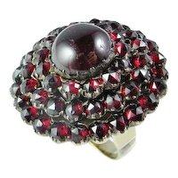 Victorian Bohemian Garnet Solid Gold Ring 19th Century Bombe Ring Dome Ring Rose Cut Garnet Ring Large Ring Statement Ring Handmade Ring 10K Gold Ring One of a Kind Ring